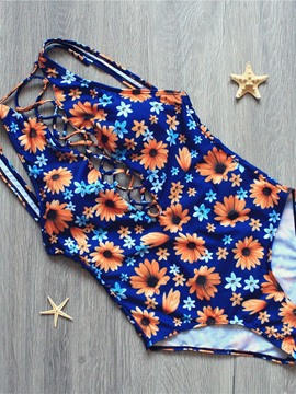 Ericdress Hollow Sunflower Print Backless Monokini