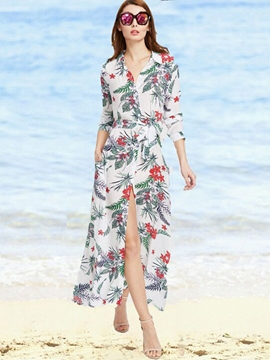 Ericdress Beach Print Single-Breasted Long Sleeves Maxi Dress