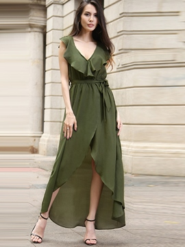 Ericdress Chiffon Ruffles-Trim V-Neck Asymmetrical Maxi Dress