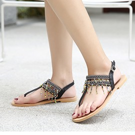 Ericdress Roman Patchwork Beads Thong Flat Sandals