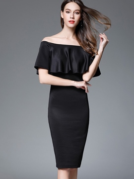 Ericdress Plain Slash Neck Ruffle Sleeve Bodycon Dress