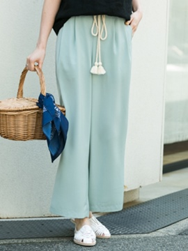 Ericdress Loose Lace-Up Plain Wide Legs Ankle Length Casual Pants