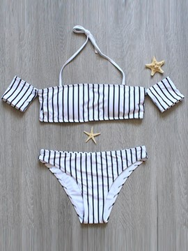 Ericdress Off-the-Shoulder Short Sleeve Stripe Tankini Set