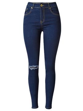 Ericdress High-Waist Hole Jeans