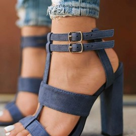 Ericdress Buckle Open Toe Chunky Heel Sandals
