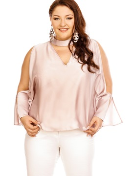 Ericdress Plus Size Cold Shoulder Blouse