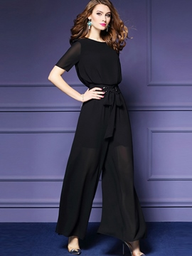 Ericdress Round Neck Perspective Wide Legs Jumpsuits
