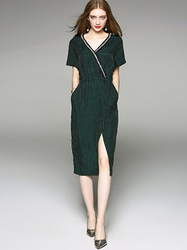 Ericdress Simple Stripe V-Neck Raglan Sleeve Sheath Dress