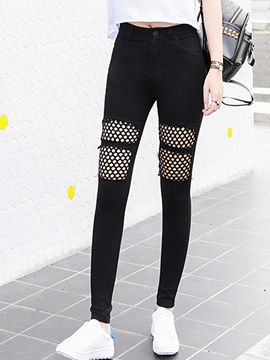 Ericdress Mesh Patchwork Leggings Pants