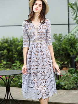 Ericdress Travel Look Hollow V-Neck Half Sleeves Lace Dress