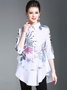 Ericdress Lapel Print Double-Layer Blouse