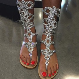 Ericdress Rhinestone Thong High Shaft Gladiator Sandals