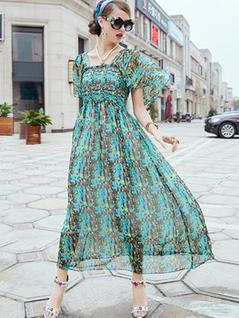 Ericdress Travel Look Chiffon Print Flare Sleeve Flowy Maxi Dress