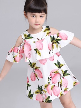 Ericdress Print Falbala Cold Shoulders Girls Day Dress