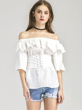 Ericdress Off Shoulder Falbala T-Shirt