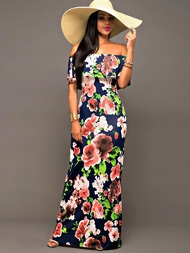 Ericdress Print Slash Neck Ruffle Sleeve Maxi Dress