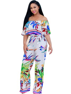 Ericdress Boat Neck Print Wide Leg Jumpsuits Pants