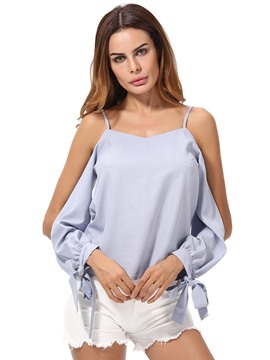 Ericdress Plain Off Shoulder Blouse