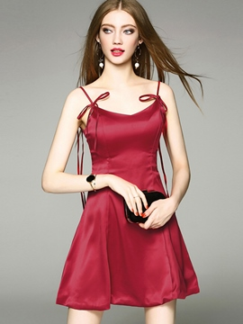 Ericdress Sexy Hot Burgundy Spaghetti Strap Drawstring A Line Dress