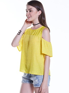 Ericdress Round Neck Cold Shoulder Polka Dots T-Shirt