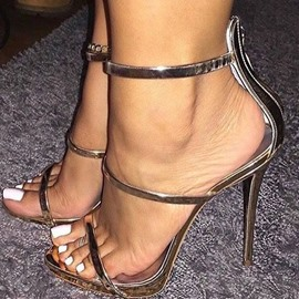Ericdress Zipper Open Toe Stiletto Heel Sandals