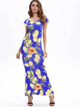 Ericdress Vogue Print Vibrant Color Close-Fitting Maxi Dress