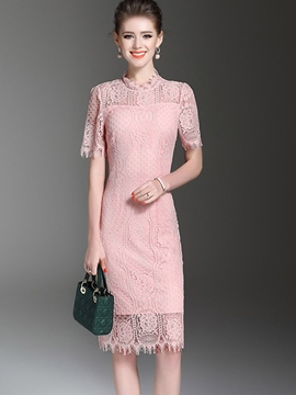 Ericdress Stand Collar Empire Waist Hollow Lace Dress