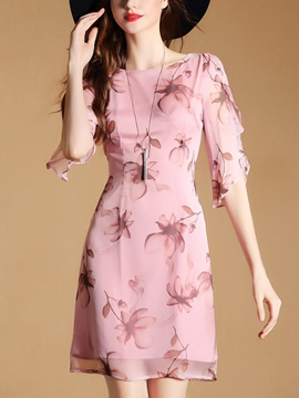 Ericdress Elegant Print Half Sleeves Above Knee A Line Dress
