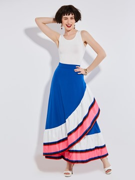 Falbala Patchwork Color Block Asymmetrical Skirt