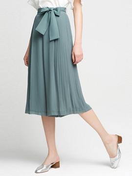Ericdress Pleated Lace-Up Bowknot Wide Legs Mid-Calf Pants