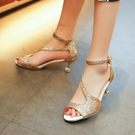 Ericdress Shining Sequins Peep Toe Stiletto Sandals