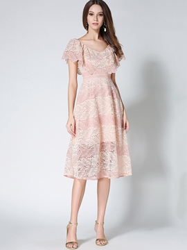Ericdress Sweet Ruffle Hollow Petal Sleeve Lace Dress