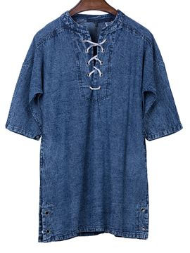 Bohoartist Mid-Length Lace-Up Denim Women's T-shirt