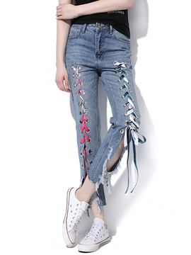 Ericdress Asymmetric Lace-Up Worn Jeans