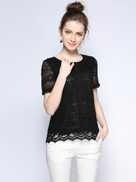 Ericdress Loose Round Neck Lace T-Shirt