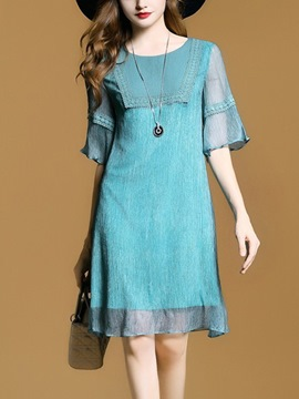 Ericdress Simple Plain Ruffle Sleeve Knee-Length Casual Dress