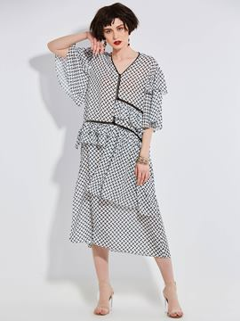 Ericdress V-Neck Falbala Patchwork A Line Dress