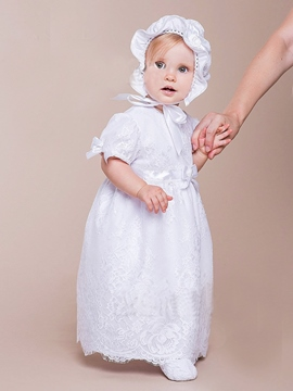 Ericdress Lace Bowknot Bonnet Christening Gown for Girl