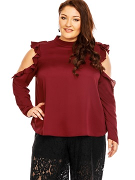 Ericdress Plus Size Falbala Cold Shoulder Blouse