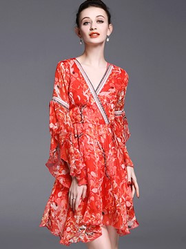 Ericdress Floral PrintV-Neck Flare Sleeve Summer Casual Dress