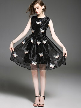 Ericdress Butterflies Appliques Oganza Ball Gown A Line Dress