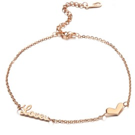 Ericdress LOVE YOU Adjustable Rose Gold Anklet for Women