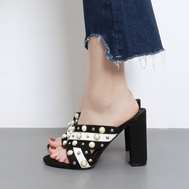 Ericdress Eurameric Pearl Decorated Mules Shoes
