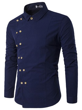 Ericdress Solid Color Slim Double-Breasted Unique Men's Shirt