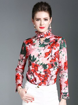 Ericdress Ruffled Collar Print Blouse