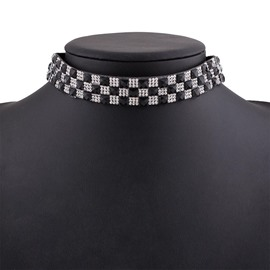Ericdress Classic Black&White Grid Choker Necklace