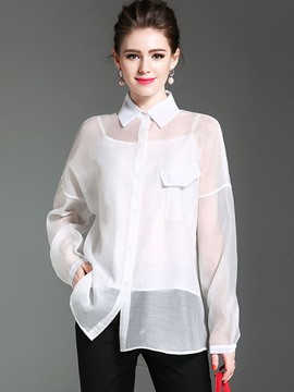 Ericdress Loose Lapel See-Through Blouse