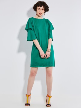 Ericdress Plain Ruffle Sleeve A-Line Dress
