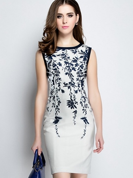 Ericdress Print Sleeveless Patchwork Bodycon Dress