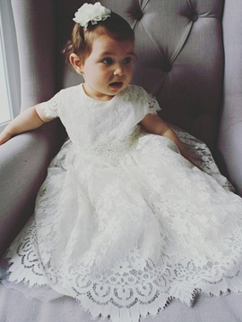 Ericdress Baby Girls Lace Christening Baptism Gown